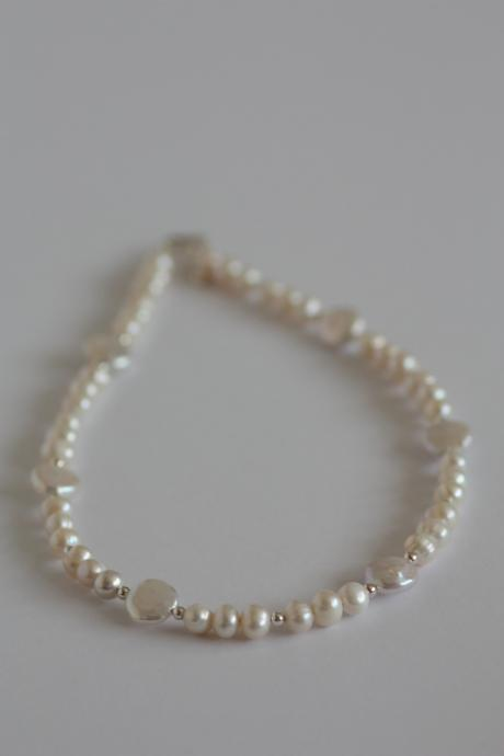 Ivory freshwater pearl, coin pearl and sterling silver necklace