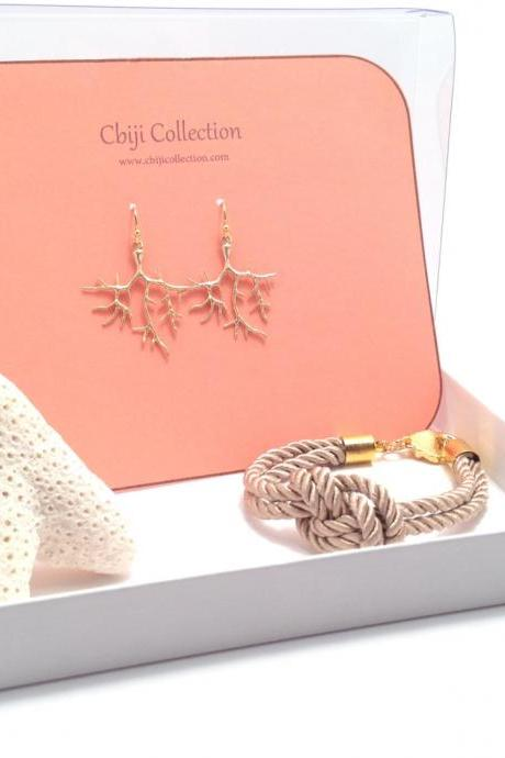 Coral Branch Earrings - Gold branch - nautical jewelry - Whimsical