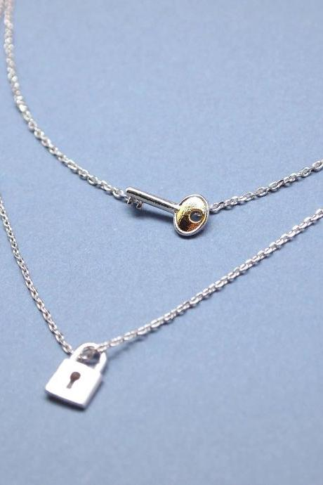 Key with Lock double layers chain Necklace in Silver