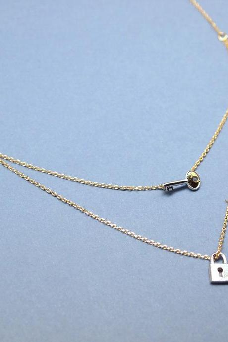 Key with Lock double layers chain Necklace in Gold