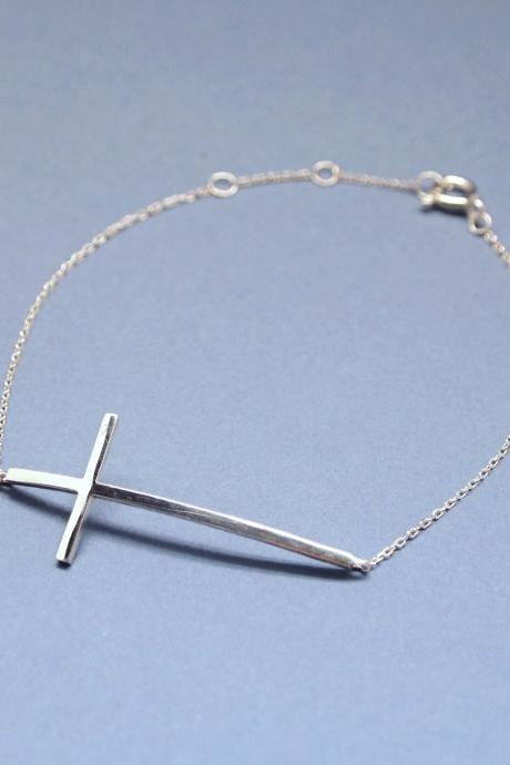 925 sterling silver Sideways Cross Bracelet