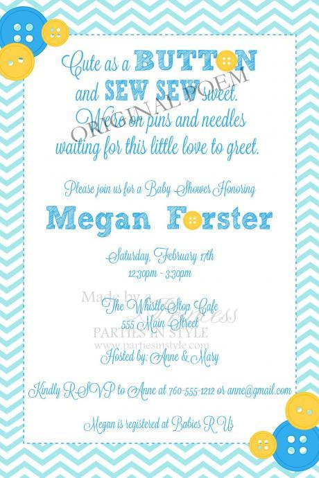 Baby Shower Invitation - Cute as a Button in Blue & Yellow - Printable DIY