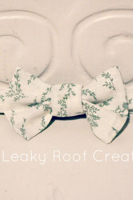 Herb print bow tie -size L - hand made