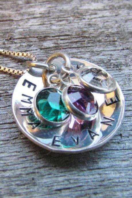 Sterling Silver Personalized Necklace Mothers Hand Stamped Jewelry Custom Name Keepsake Pendant Crystal Swarovski Charms Cupped