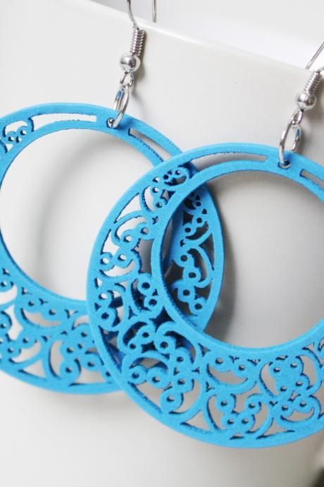 Tropical Blue Classic Circle of Love Filigree Cut Wood Earring ( SOooooo much classic)