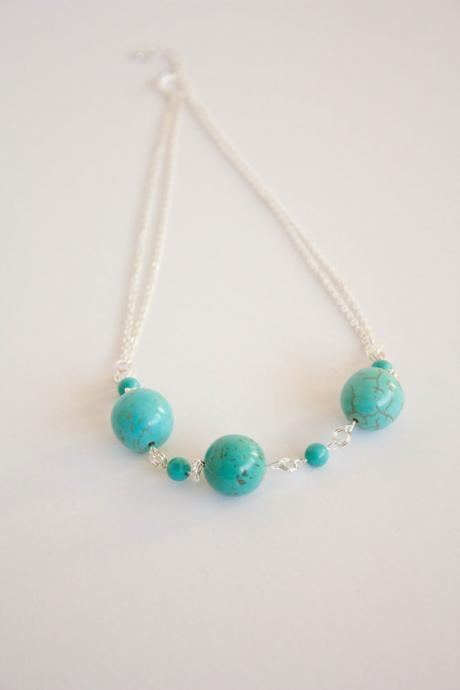 Turquoise and chain necklace, December birthstone necklace