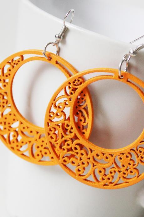 Fun Orange Classic Circle of Love Filigree Cut Wood Earring