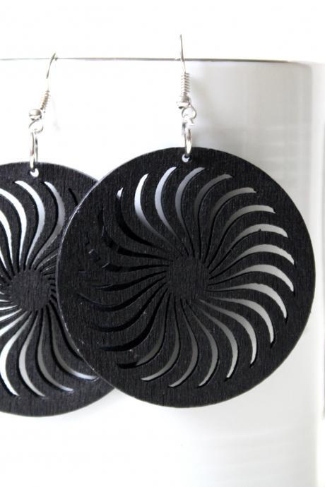 Classic Black Wind turbine Cut Earring ,Naturally Beauty from Wood