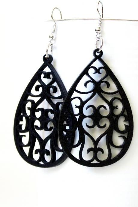 Classic Black Angle Curtain Drop Filigree Cut Wood Earring