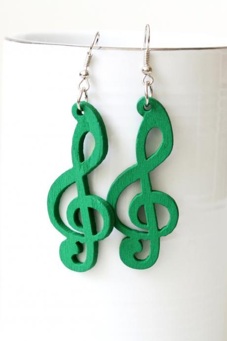lOVELY Green Melody of LovE Cut Wood earring