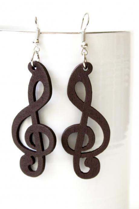 Gorgeous Brown Melody of LovE Cut Wood earring