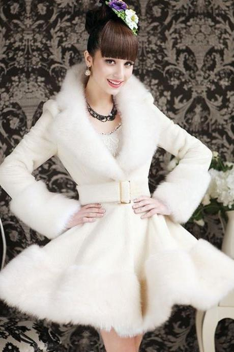 Bridal Coat XL Jacket- White Fur Jacket for Women-White Winter Coat- Ruffled Coat for Women- Long Sleeve white Coat