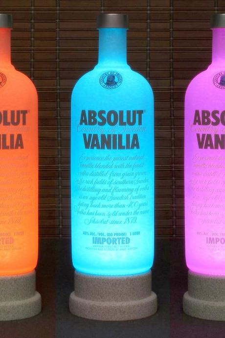 Absolut Vanilla Vodka Color Changing LED Remote Controlled LED Bottle Lamp /Bar Light Bodacious Bottles-