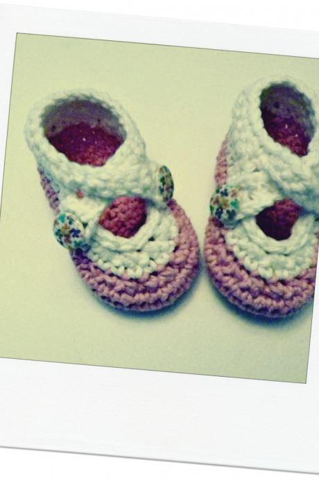 Crochet two strap baby booties, antique ivory and pink cotton