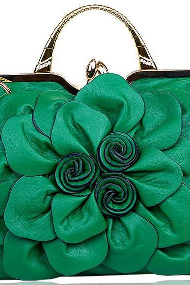 Green Big Flower Handbags for Women Leather Bags