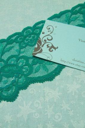 SALE 1 yard of 2 1/2 inch Emerald Green Stretch elastic lace trim for garter, headband, lingerie by MarlenesAttic - Item M7