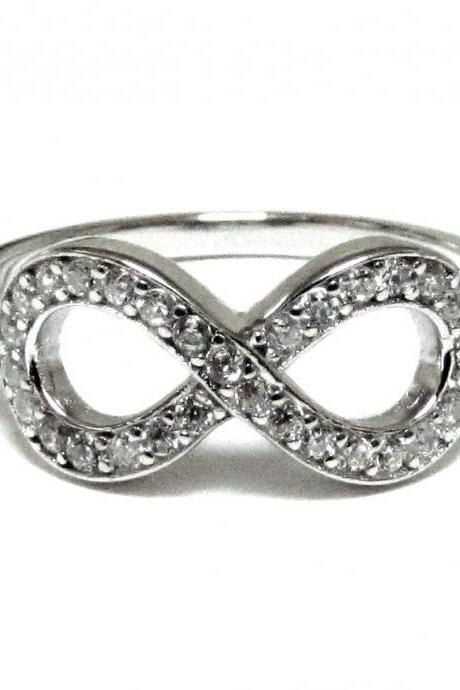 Infinity Ring-Sterling Silver Ring With Hand Set Cubic Zirconia