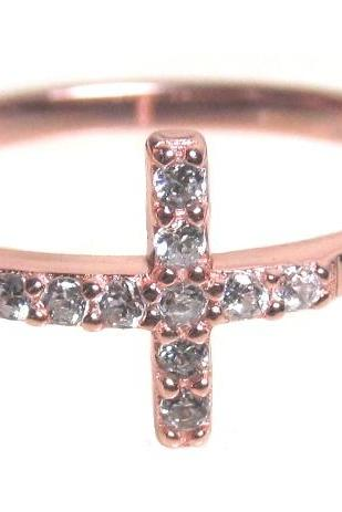 Sideways Cross Ring-Rose Gold Over 925 Sterling Silver With Hand Set CZ Ring