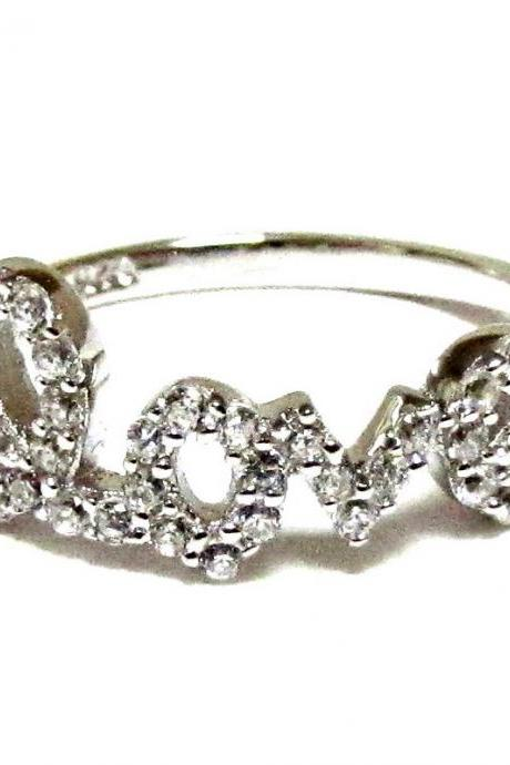 Love Ring-Script Letter LOVE Ring With CZ In Rhodium Over Sterling Silver