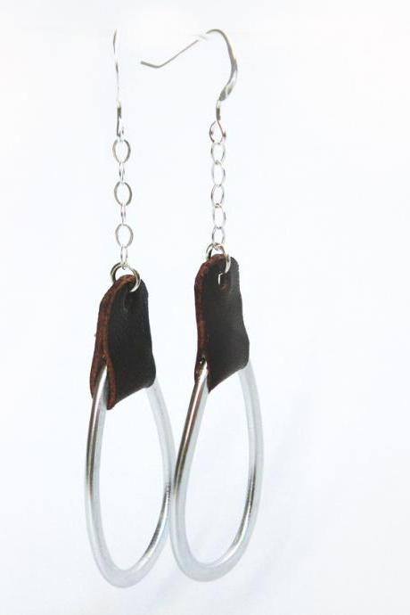 Minimalist Geometric Long Earrings Sterling Silver Brown Leather Aluminum Ovals Modern Jewelry by SteamyLab
