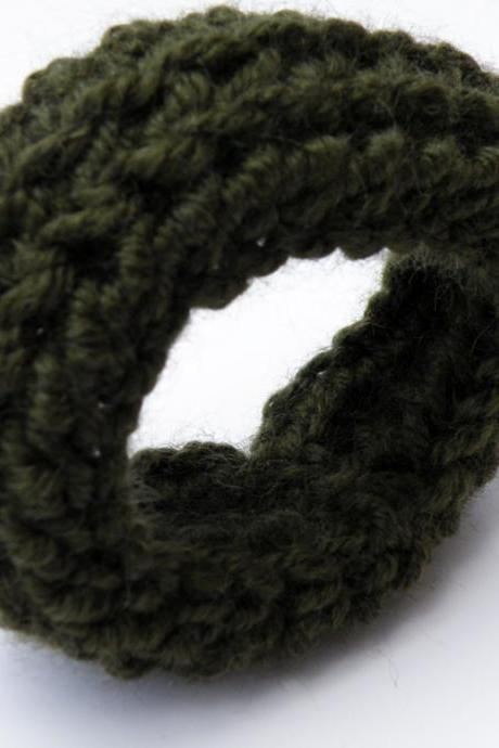 Crochet Bangle Merino Wool Forest Green Fall Winter Fashion Wristband Women Accessories by SteamyLab