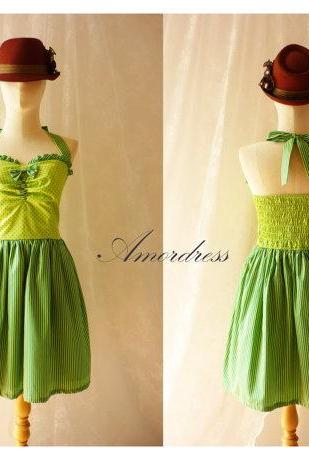 Circus Party Dress Stripe Mix Polka Dot Green and Jade Green Dress Summer Bridesmaid Every Day or Party Dress Once Upon A Time