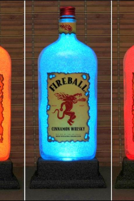 Fireball Cinnamon Whiskey Color Changing LED Remote Controlled Bottle Lamp Bar Light Bodacious Bottles