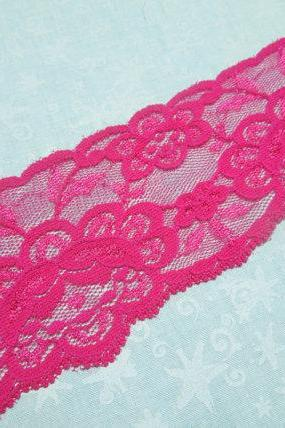1 yard of 2 1/2 inch Pink Stretch Elastic lace trim for garters, christmas, valentines, holiday, lingerie by MarlenesAttic - Item N5