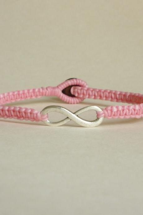 Pink Infinity - Simple Single Silver Infinity Sign/Eight woven with Pink Wax Cord Bracelet / Wristband - Men Jewelry - Unisex