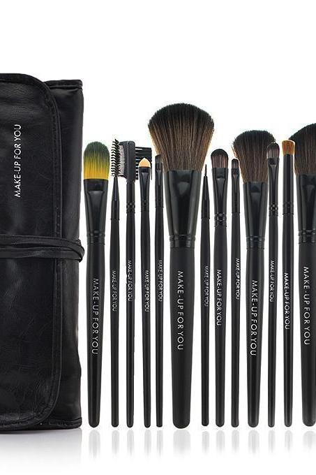 High Quality 18 PCS Professioal Makeup Brush Set with Black Leather Case