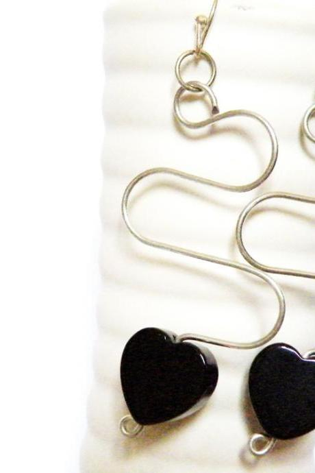 Black Onyx Heart Long Hook Earrings Birthstone Jewelry December Women Minimalist Fashion by SteamyLab