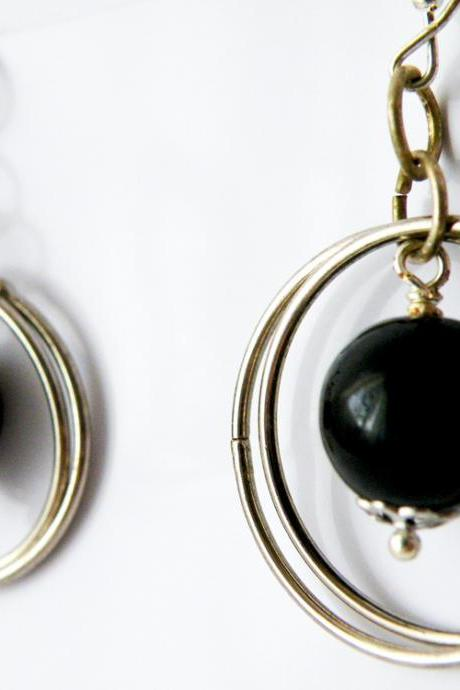 Black Onyx Round Pearl Hook Earrings Birthstone Jewelry December Women Minimalist Fashion by SteamyLab