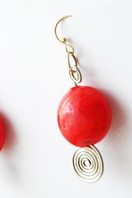 Red Round Glass Beads Hook Earrings Beaded Jewelry Wire Wrapped Swirl Women Minimalist Fashion by SteamyLab
