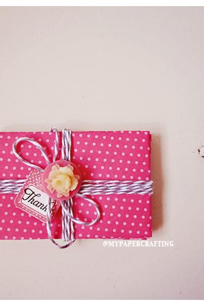 6 tiny Berry Sorbet pink envelope / pack