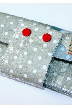 Long Wallet with Zipper - Polka