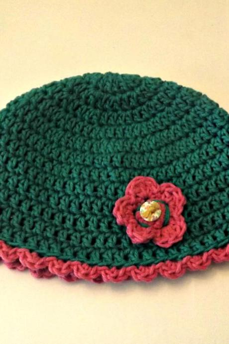 Crochet Flower beanie Hat Ready to Ship toddler size