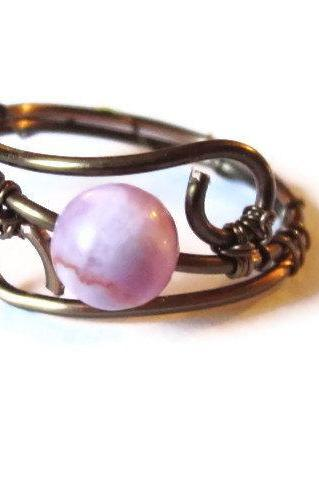 Pink Gemstone Ring, Wire Wrapped in Gunmetal, Custom Size
