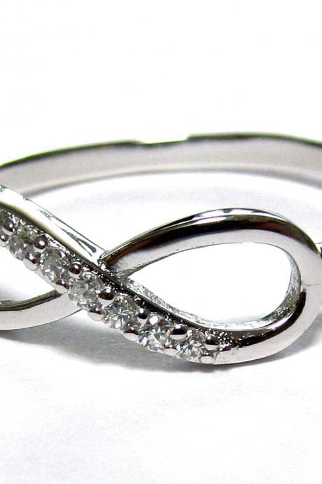 Infinity Ring-Rhodium Over Sterling Silver Ring With Cubic Zirconia Size 9