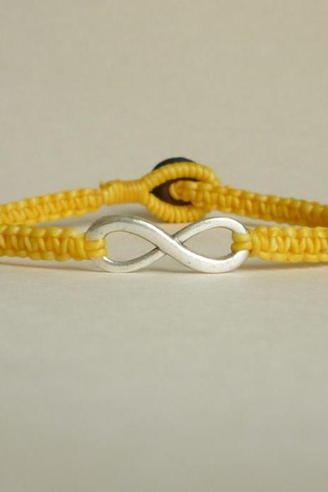 Yellow Infinity - Simple Single Silver Infinity Sign/Eight woven with Yellow Wax Cord Bracelet / Wristband - Men Jewelry - Unisex