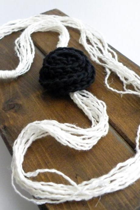 Linen Long Necklace Black White Crochet Wool Rose Elegant Women Accessories by SteamyLab