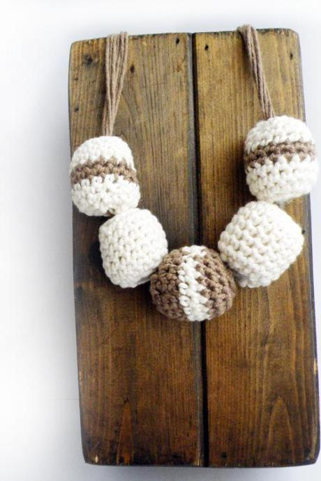 Playful Crochet Bubble Necklace Brown White Cotton Textile Jewelry Spring Summer Fashion by SteamyLab