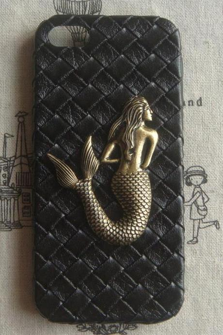 Steampunk Mermaid Black Woven PU Leather hard case For Apple iPhone 5 case cover