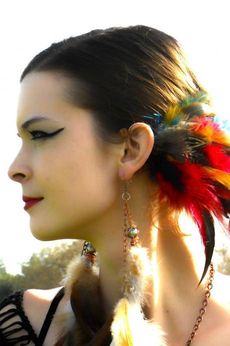 Spiritual Aura Feather Ear Cuff / Earcuff : Turquoise Crystal - Copper Wire - Orange/Purple/Turquoise/Green/Yellow/Red Feathers **FREE SHIPPING**
