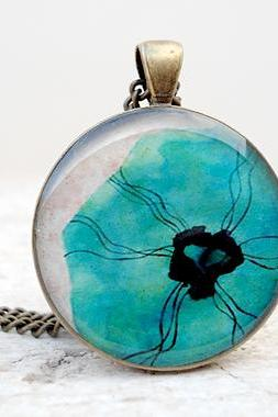 Poppies Necklace Aqua Blue, Poppies Pendant Floral,nature