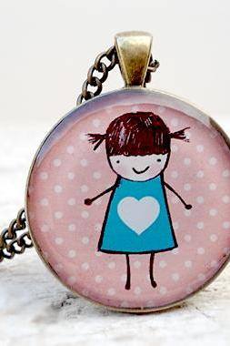 Little Cute Girl Pendant, Girl in Blue Dress with Heart, polkadots