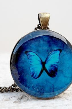Blue Butterfly Necklace, Wings, Gorgeous Butterfly Pendant