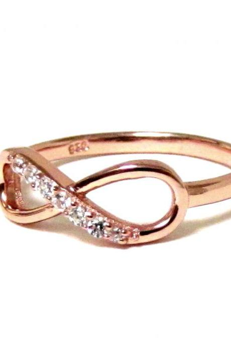 Infinity Ring-Rose Gold Over Sterling Silver Ring With Cubic Zirconia Size 6