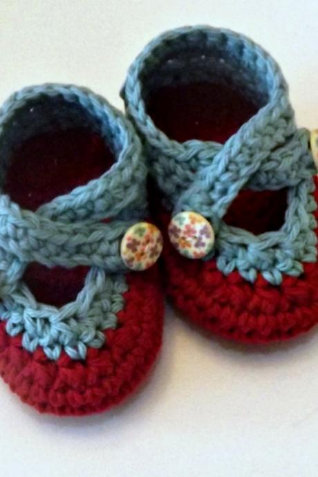 Crochet two strap baby booties, cherry red and robins egg blue cotton