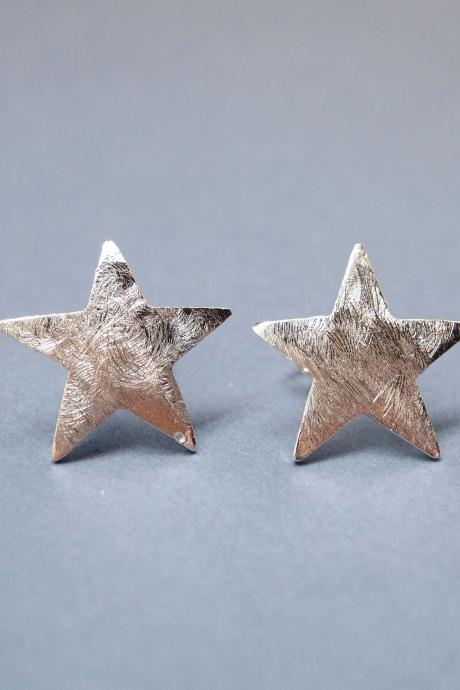 Brushed Chunky Star Earrings in Silver
