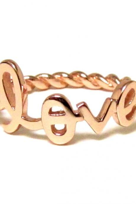 LOVE Ring-Script Letter LOVE Ring With Twisted Rope Band In Rose Gold Over Silver-Size 7
